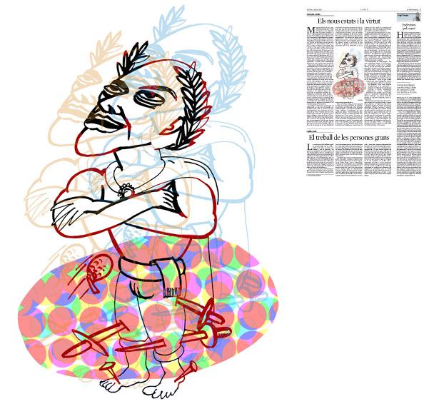 Jordi Barba, il·lustració publicada a La Vanguardia, secció d'Opinió 6-08-2015, per l'article de Salvador Cardús