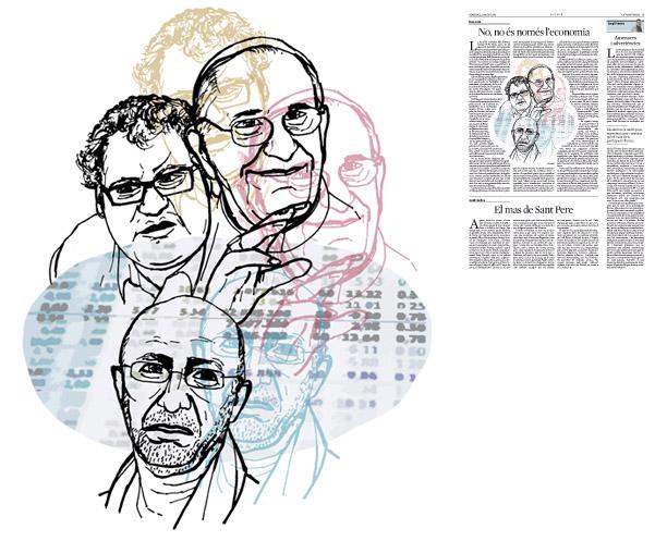 Jordi Barba, il·lustració publicada a La Vanguardia, secció d'Opinió 12-08-2015, per l'article de Lluís Foix