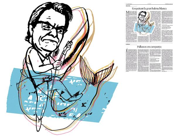 Jordi Barba, il·lustració publicada a La Vanguardia, secció d'Opinió 16-08-2015, per l'article de Llàtzer Moix