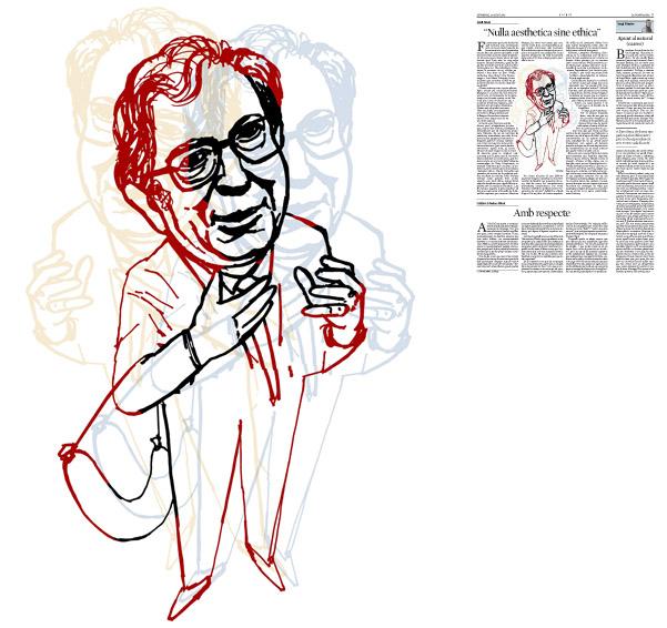 Jordi Barba, il·lustració publicada a La Vanguardia, secció d'Opinió 23-08-2015, per l'article de Jordi Amat