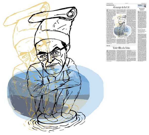 Jordi Barba, il·lustració publicada a La Vanguardia, secció d'Opinió 28-08-2015, per l'article de Ignacio Martínez de Pisón