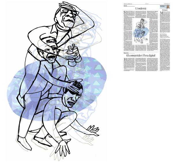 Jordi Barba, il·lustració publicada a La Vanguardia, secció d'Opinió 2-09-2015, per l'article de Lluís Foix