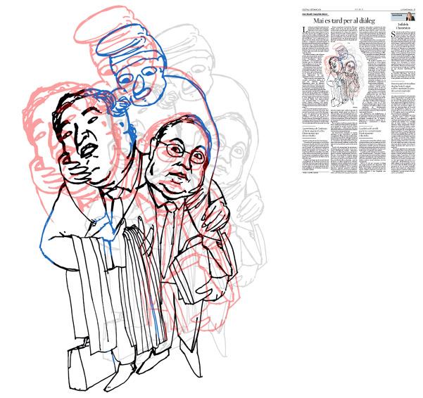 Jordi Barba, il·lustració publicada a La Vanguardia, secció d'Opinió 7-09-2015, per l'article de Joan Rosell i Josep Lluís Bonet