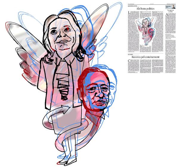 Jordi Barba, il·lustració publicada a La Vanguardia, secció d'Opinió 11-09-2015, per l'article de Ignacio Martínez de Pisón