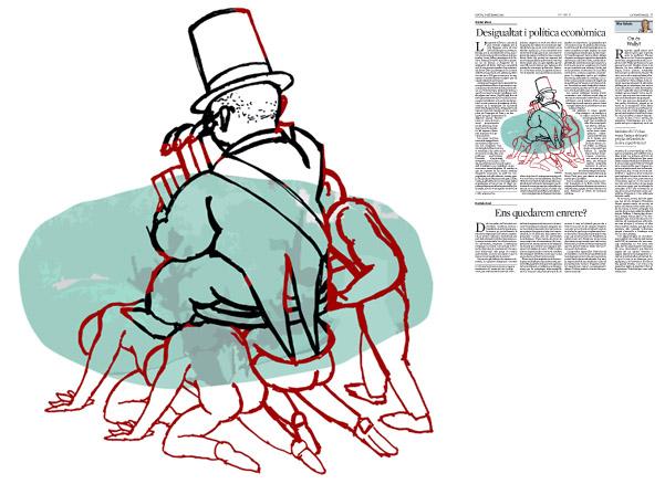 Jordi Barba, il·lustració publicada a La Vanguardia, secció d'Opinió 17-09-2015, per l'article de Xavier Vives