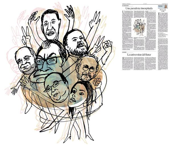 Jordi Barba, il·lustració publicada a La Vanguardia, secció d'Opinió 2-10-2015, per l'article de Luis Sánchez-Merlo