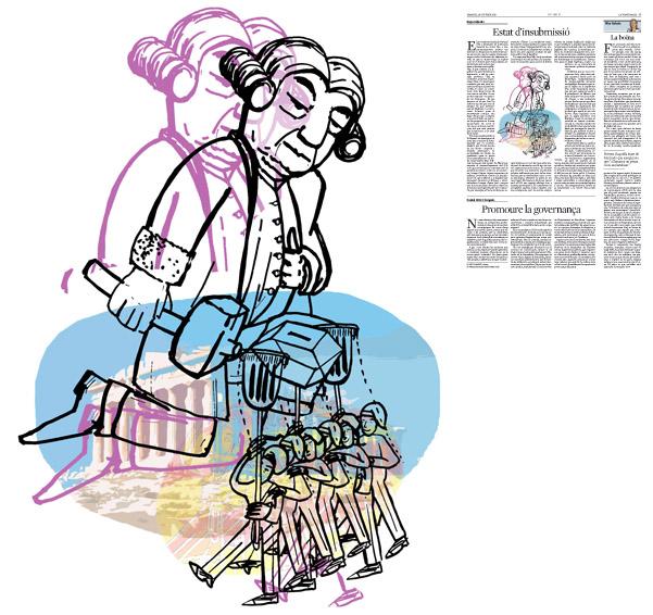 Jordi Barba, il·lustració publicada a La Vanguardia, secció d'Opinió 20-10-2015, per l'article de Kepa Aulestia