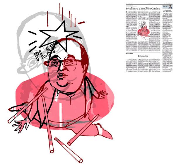 Jordi Barba, il·lustració publicada a La Vanguardia, secció d'Opinió 28-10-2015, per l'article de Salvador Cardús i Ros