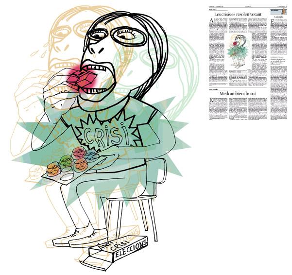Jordi Barba, il·lustració publicada a La Vanguardia, secció d'Opinió 4-11-2015, per l'article de Antón Costas