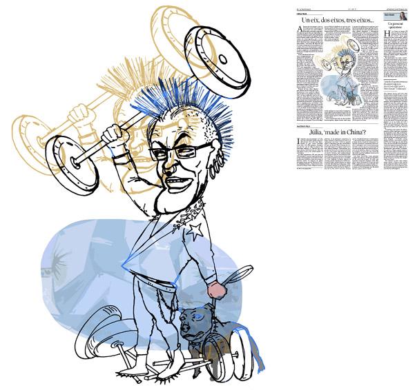 Jordi Barba, il·lustració publicada a La Vanguardia, secció d'Opinió 15-11-2015, per l'article de Llàtzer Moix