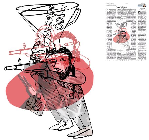 Jordi Barba, il·lustració publicada a La Vanguardia, secció d'Opinió 30-11-2015, per l'article de Francisco Rubio Llorente
