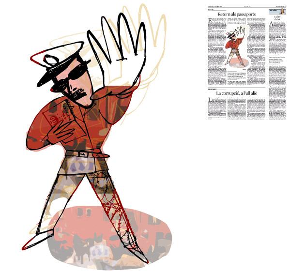 Jordi Barba, il·lustració publicada a La Vanguardia, secció d'Opinió 9-12-2015, per l'article de Lluís Foix