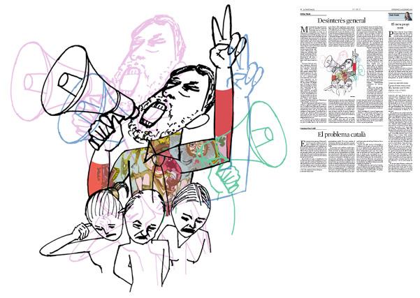 Jordi Barba, il·lustració publicada a La Vanguardia, secció d'Opinió 13-12-2015, per l'article de Llàtzer Moix