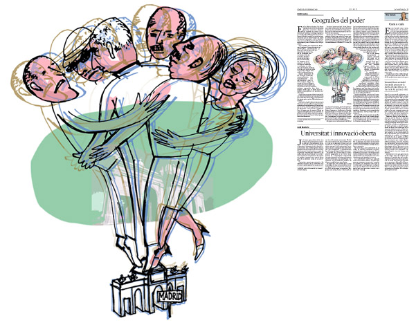 Jordi Barba, il·lustració publicada a La Vanguardia, secció d'Opinió 16-12-2015, per l'article de Antón Costas