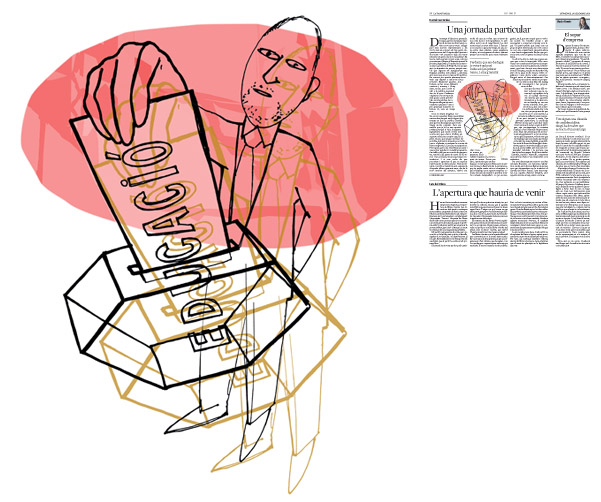 Jordi Barba, il·lustració publicada a La Vanguardia, secció d'Opinió 20-12-2015, per l'article de Daniel Fernández