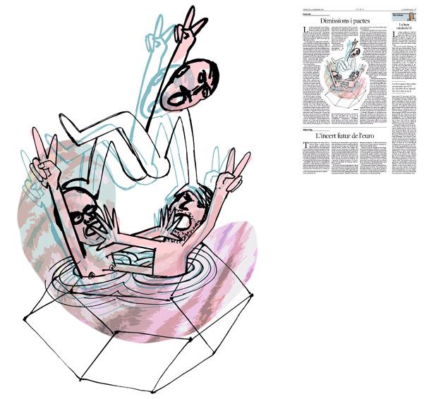 Jordi Barba, il·lustració publicada a La Vanguardia, secció d'Opinió 23-12-2015, per l'article de Lluís Foix