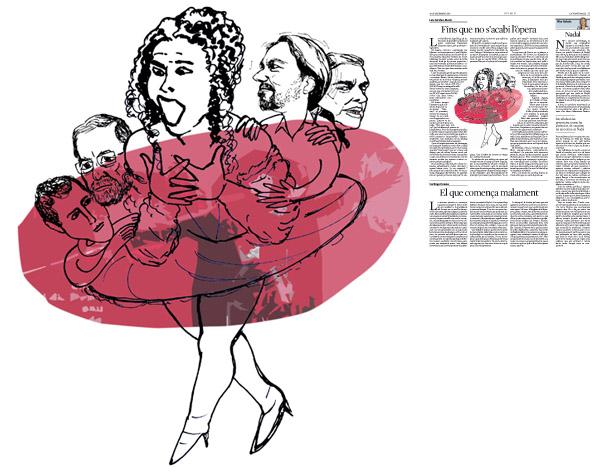 Jordi Barba, il·lustració publicada a La Vanguardia, secció d'Opinió 25-12-2015, per l'article de Luis Sánchez-Merlo