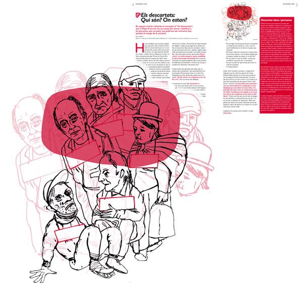 Jordi Barba, il·lustració publicada a El Batec núm. 5 de Càritas Barcelona, desembre de 2015, per l'article de Juana Martín