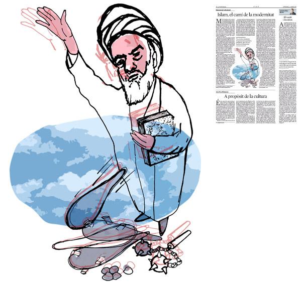 Jordi Barba, il·lustració publicada a La Vanguardia, secció d'Opinió 22-01-2016, per l'article de Mohammad Fazlhashemi