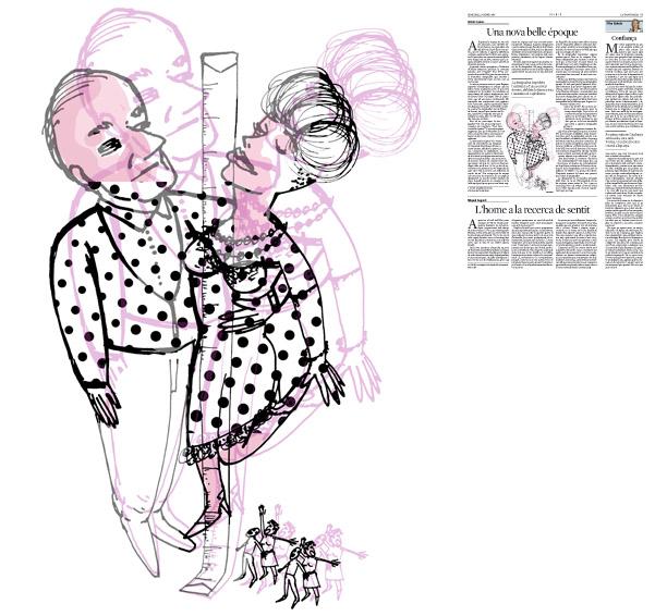 Jordi Barba, il·lustració publicada a La Vanguardia, secció d'Opinió 27-01-2016, per l'article de Antón Costas
