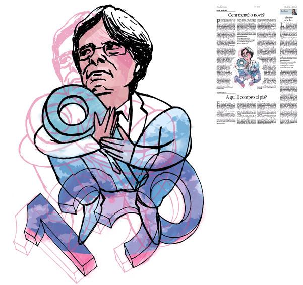 Jordi Barba, il·lustració publicada a La Vanguardia, secció d'Opinió 31-01-2016, per l'article de Daniel Fernández