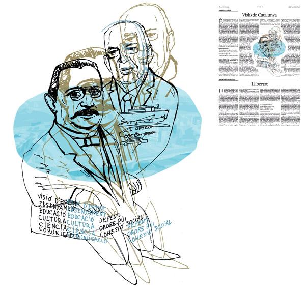 Jordi Barba, il·lustració publicada a La Vanguardia, secció d'Opinió 8-02-2016, per l'article de Josep Miró i Ardèvol