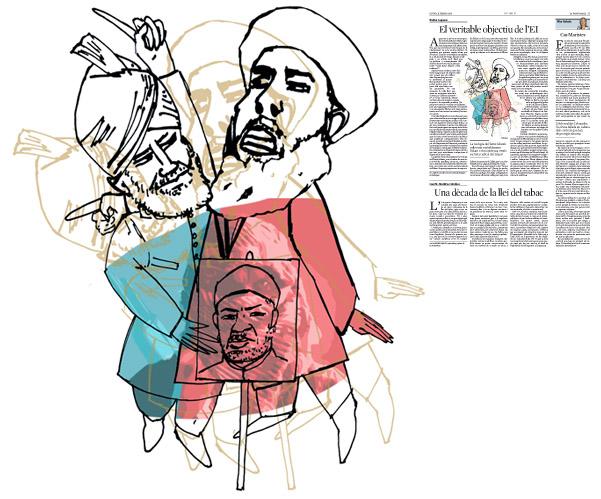 Jordi Barba, il·lustració publicada a La Vanguardia, secció d'Opinió 11-02-2016, per l'article de Walter Laqueur