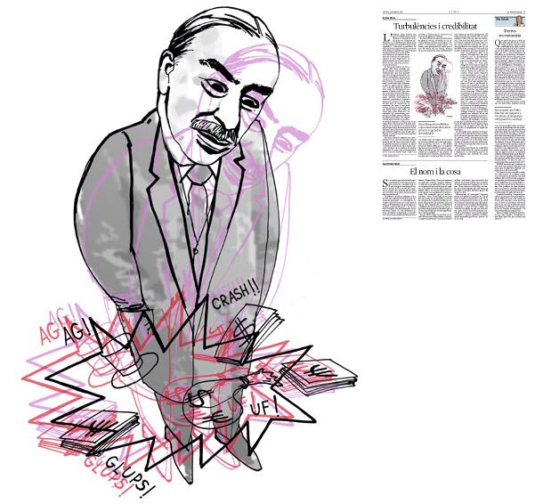 Jordi Barba, il·lustració publicada a La Vanguardia, secció d'Opinió 18-02-2016, per l'article de Xavier Vives