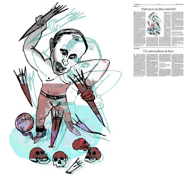 Jordi Barba, il·lustració publicada a La Vanguardia, secció d'Opinió 22-02-2016, per l'article de George Soros