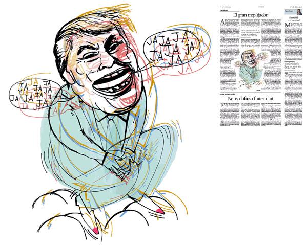 Jordi Barba, il·lustració publicada a La Vanguardia, secció d'Opinió 6-03-2016, per l'article de Llàtzer Moix
