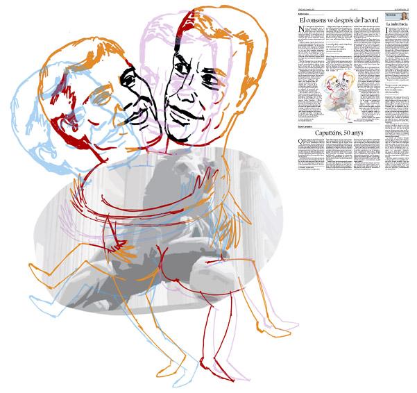 Jordi Barba, il·lustració publicada a La Vanguardia, secció d'Opinió 9-03-2016, per l'article de Antón Costas