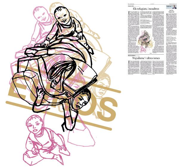 Jordi Barba, il·lustració publicada a La Vanguardia, secció d'Opinió 16-03-2016, per l'article de Salvador Cardús