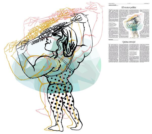 Jordi Barba, il·lustració publicada a La Vanguardia, secció d'Opinió 28-03-2016, per l'article de Joaquim Gay de Montellà