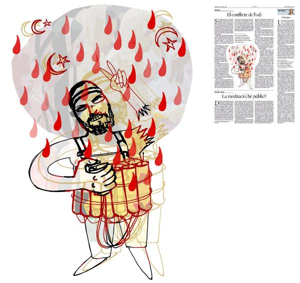 Jordi Barba, il·lustració publicada a La Vanguardia, secció d'Opinió 30-03-2016, per l'article de Lluís Foix
