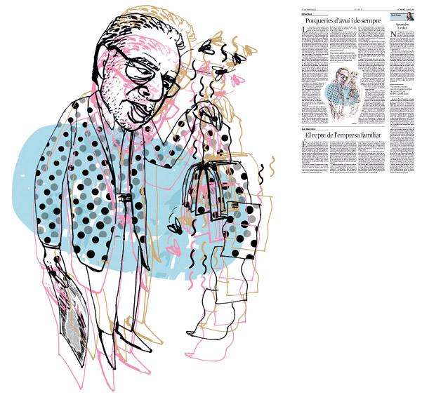 Jordi Barba, il·lustració publicada a La Vanguardia, secció d'Opinió 3-04-2016, per l'article de Llàtzer Moix
