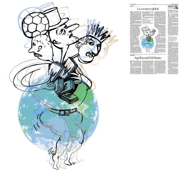 Jordi Barba, il·lustració publicada a La Vanguardia, secció d'Opinió 6-04-2016, per l'article de Lluís Foix