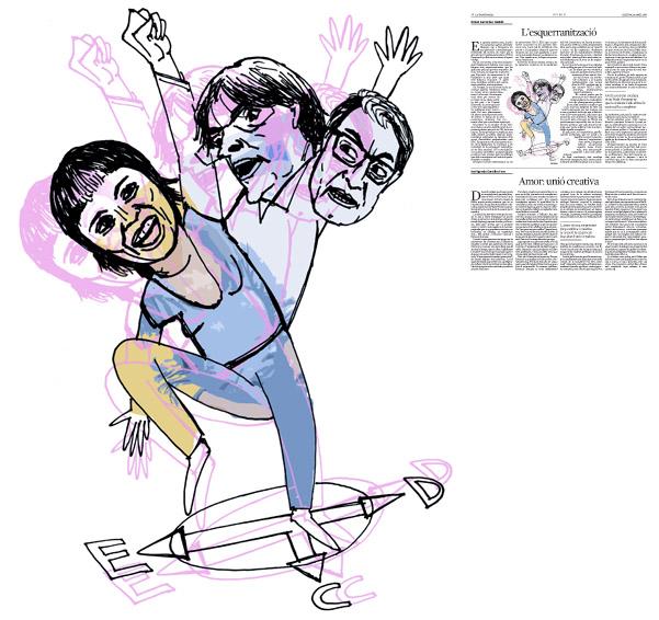 Jordi Barba, il·lustració publicada a La Vanguardia, secció d'Opinió 18-04-2016, per l'article de Antoni Fernández Teixidó