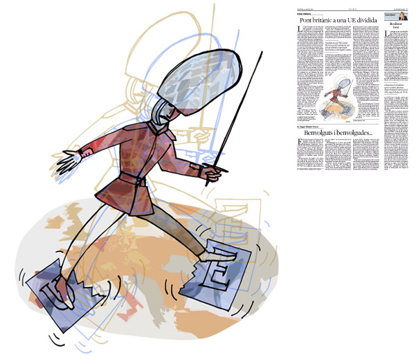 Jordi Barba, il·lustració publicada a La Vanguardia, secció d'Opinió 25-04-2016, per l'article de Robert Skidelsky