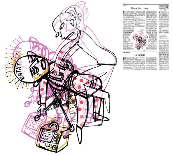 Jordi Barba, il·lustració publicada a La Vanguardia, secció d'Opinió 15-05-2016, per l'article de Jordi Amat
