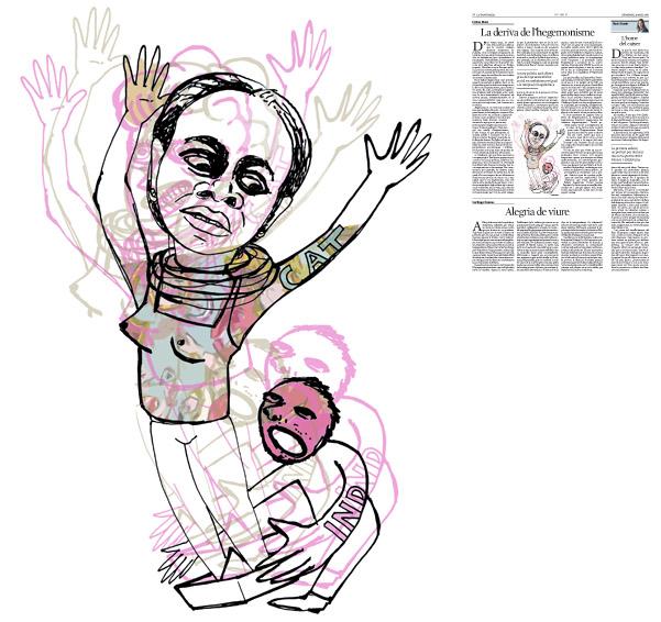 Jordi Barba, il·lustració publicada a La Vanguardia, secció d'Opinió 29-05-2016, per l'article de Llàtzer Moix