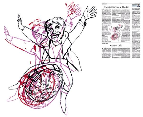 Jordi Barba, ilustración publicada en La Vanguardia, sección de Opinión 8-06-2016, para el artículo de Salvador Cardús
