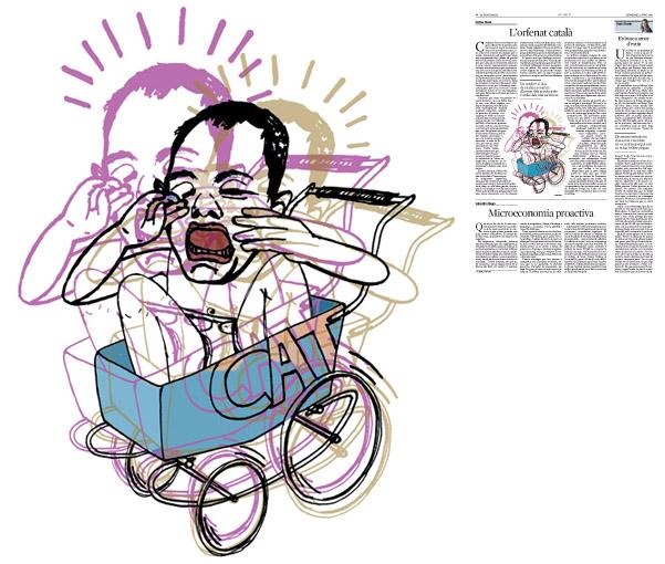 Jordi Barba, ilustración publicada en La Vanguardia, sección de Opinión 12-06-2016, para el artículo de Llàtzer Moix