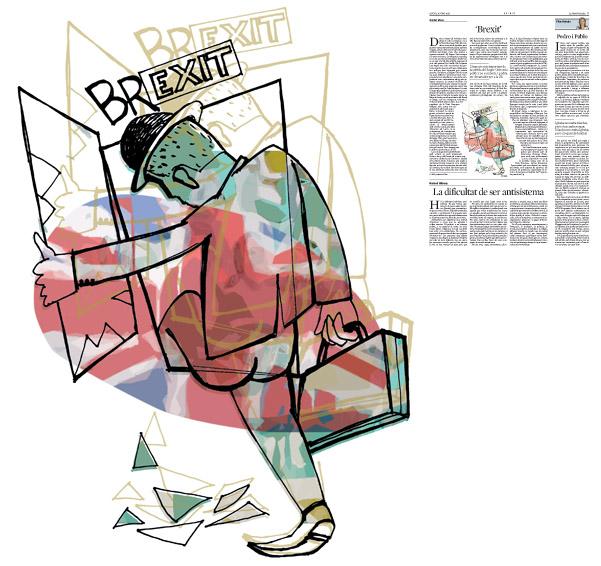 Jordi Barba, ilustración publicada en La Vanguardia, sección de Opinión 16-06-2016, para el artículo de Xavier Vives