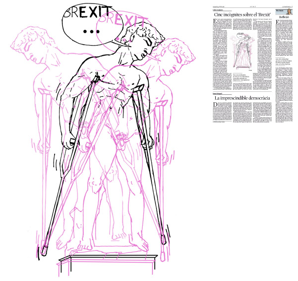 Jordi Barba, ilustración publicada en La Vanguardia, sección de Opinión 25-06-2016, para el artículo de Carles Casajuana