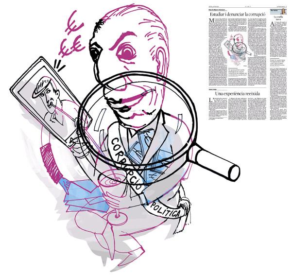 Jordi Barba, ilustración publicada en La Vanguardia, sección de Opinión 30-06-2016, para el artículo de Riquer i Permanyer