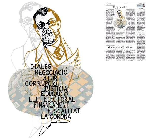 Jordi Barba, il·lustració publicada a La Vanguardia, secció d'Opinió 3-07-2016, per l'article de Daniel Fernández