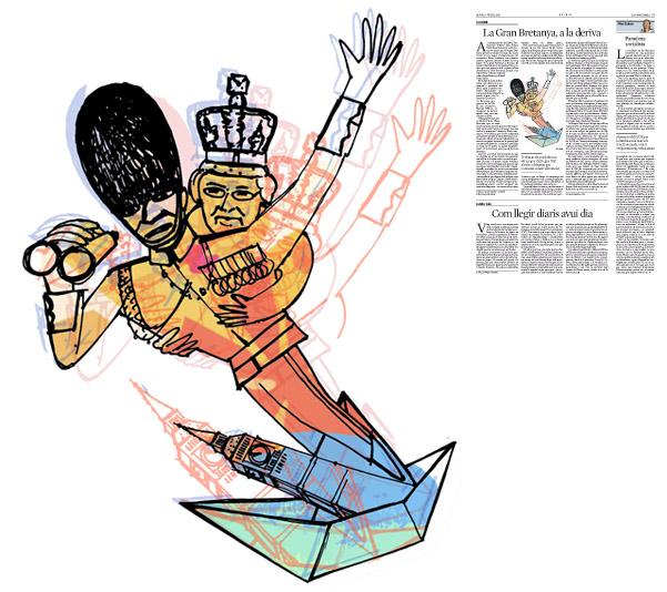 Jordi Barba, il·lustració publicada a La Vanguardia, secció d'Opinió 7-07-2016, per l'article de Carl Bildt