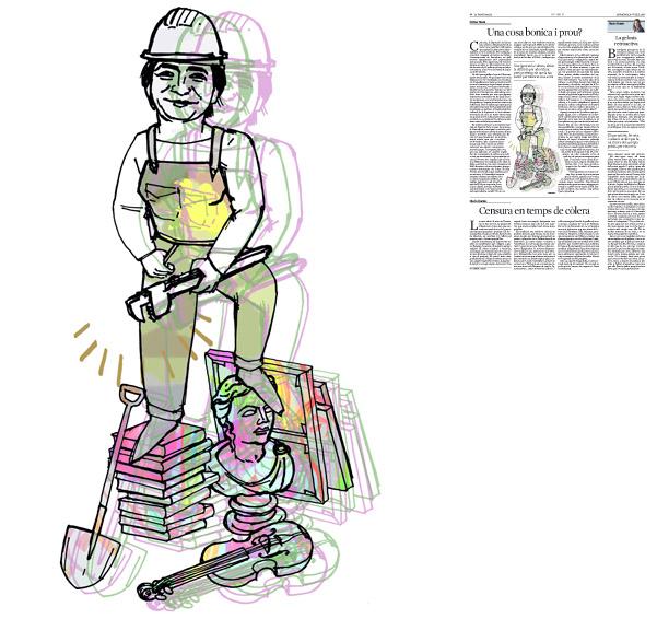 Jordi Barba, il·lustració publicada a La Vanguardia, secció d'Opinió 10-07-2016, per l'article de Llàtzer Moix