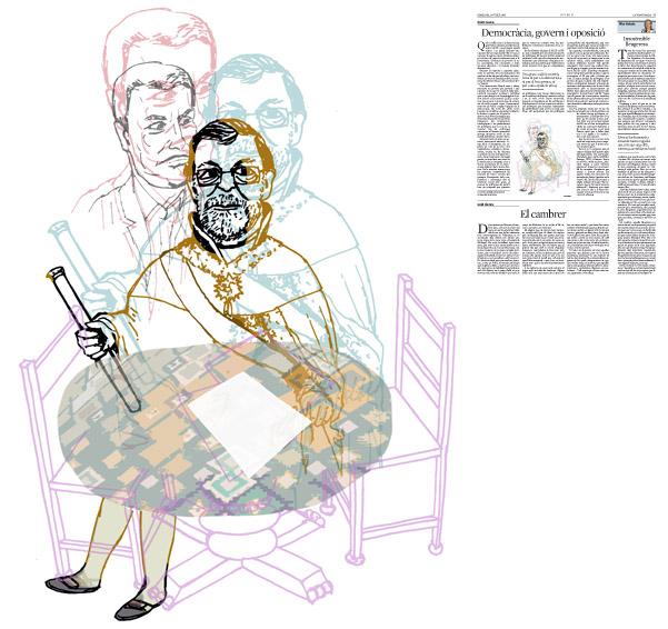 Jordi Barba, il·lustració publicada a La Vanguardia, secció d'Opinió 13-07-2016, per l'article de Antón Costas