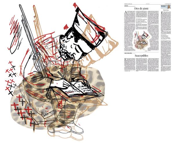 Jordi Barba, il·lustració publicada a La Vanguardia, secció d'Opinió 24-07-2016, per l'article de Jordi Amat